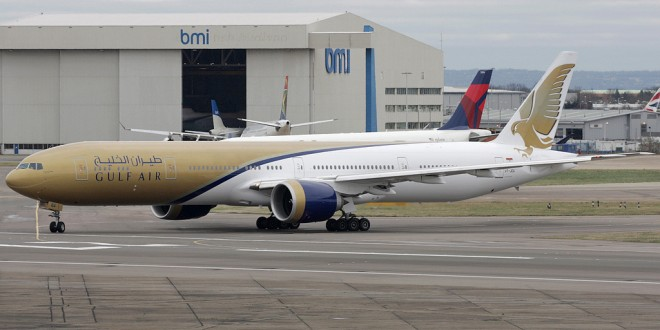 Jet Airways Boeing 777-300ER painted in Gulf Air livery.