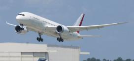 First Charleston, SC, built Boeing 787-8 Dreamliner achieves first flight. LN46 is due to be delivered to Air India. Boeing image.