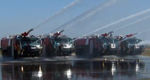 Rosenbauer Panther 6x6 fire tenders of Bangalore airport ARFF. BIAL image.