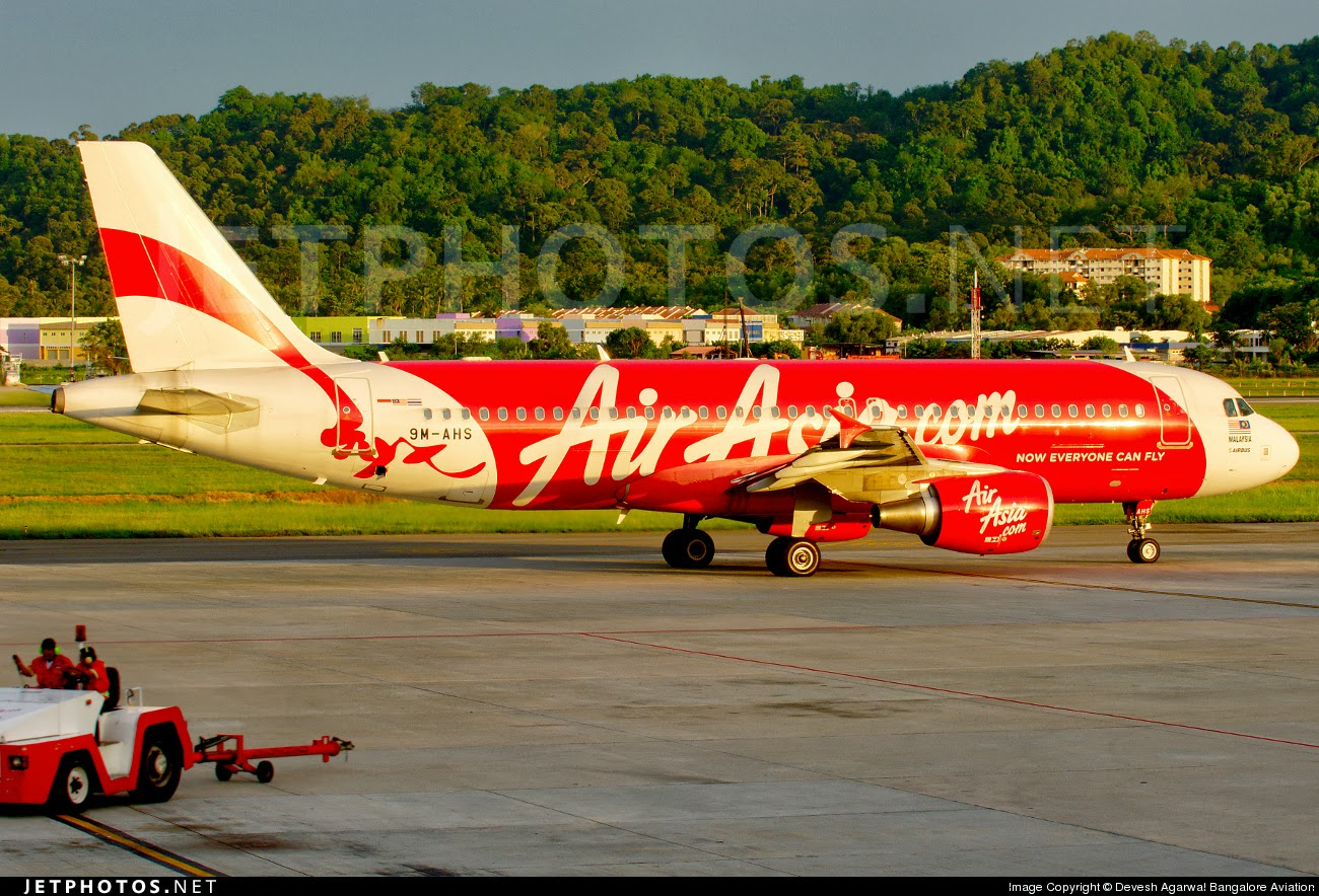 AirAsia A320 9M-AHS at Penang airport.