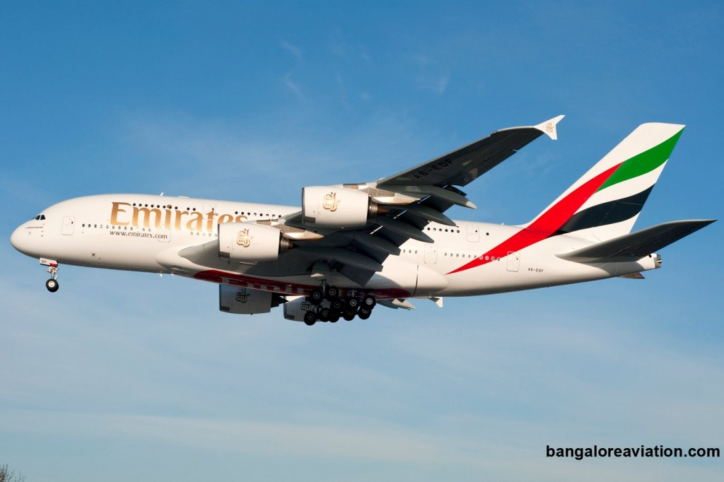 Emirates_A380-800 A6-EDF arrives at London. Photo copyright Devesh Agarwal.