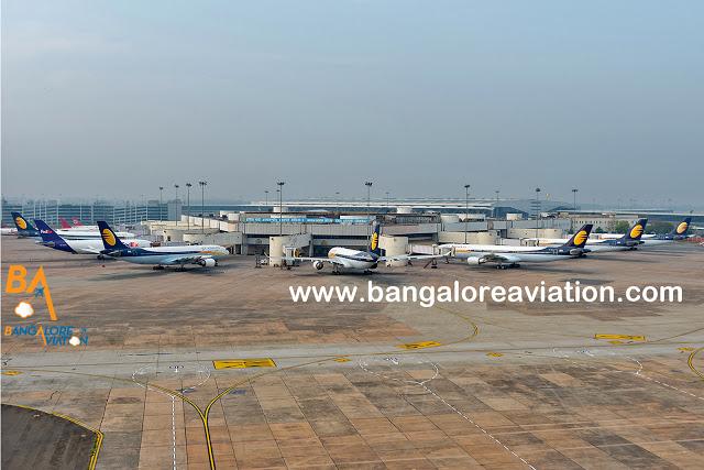 Bulk of Jet's 330 fleet lying on the ground at Delhi. Copyright Devesh Agarwal.