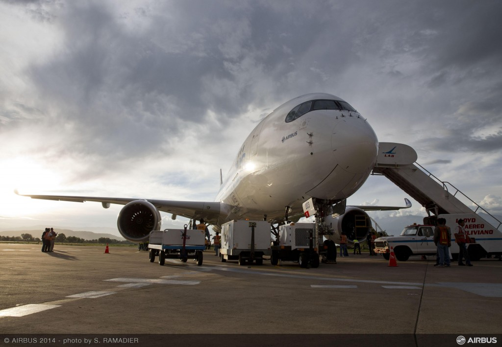 Airbus A350 in Bolivia for high altitude testing