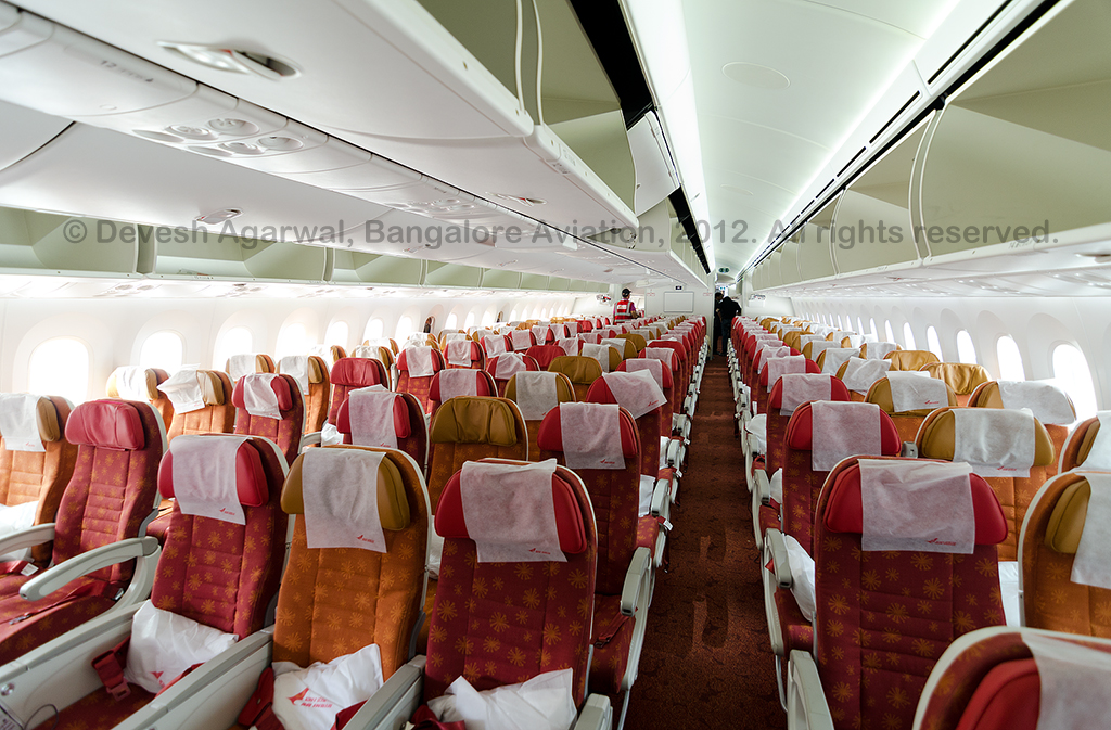 Air India Boeing 787 Dreamliner economy class.
