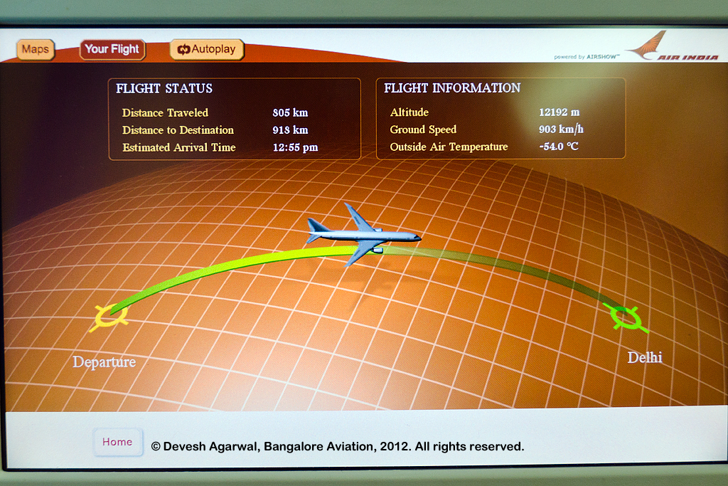 Air India Boeing 787 Dreamliner moving map display.