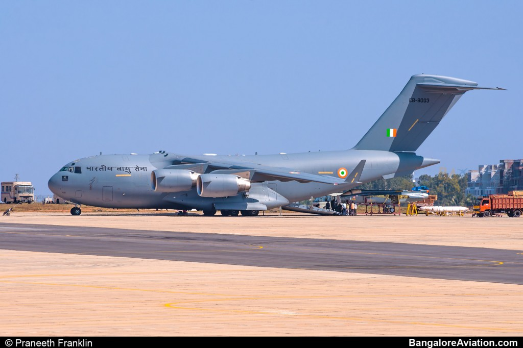 IAF C-17 Globemaster III unloads disassembled Light Combat Aircraft Tejas.
