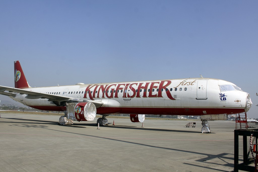 Stripped down Kingfisher A321 at Mumbai.