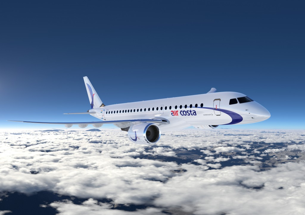 CGI of Air Costa E190 E2 courtesy Embraer S.A.
