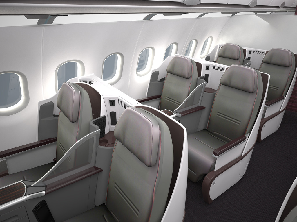 Qatar Airways all business class Airbus A319 cabin.
