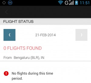 Star Alliance Navigator app does not show flight status when searched by departing airport
