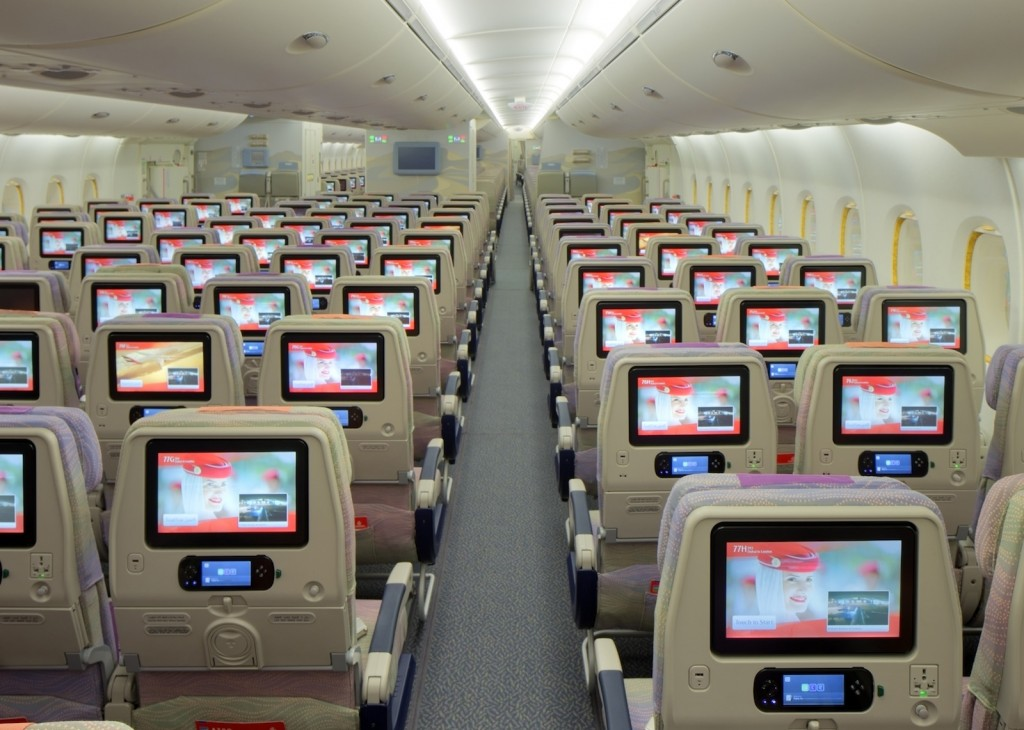 Emirates' Boeing 777 economy class in 3-4-3 configuration.
