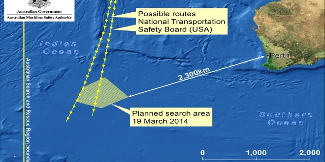 Malaysia Airlines MH370 possible debris sighting near Australia search area map