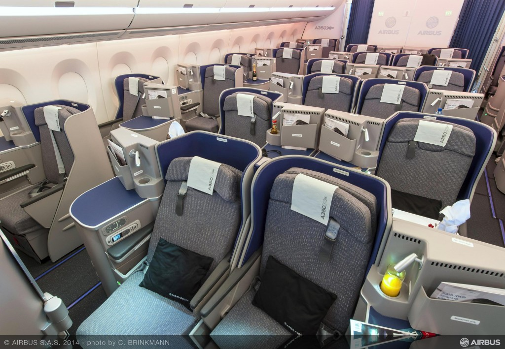 Airbus A350 sample business class cabin.