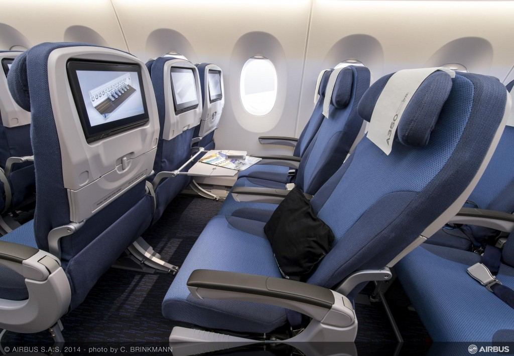 Airbus A350 sample economy class seat with recline