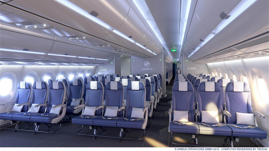 Airbus A350 sample economy class cabin nine abreast 18 inch seat width