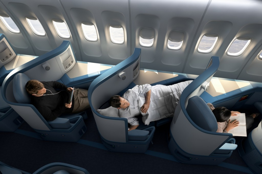 Delta Air Lines BusinessElite class full flat-bed seat on Boeing 747