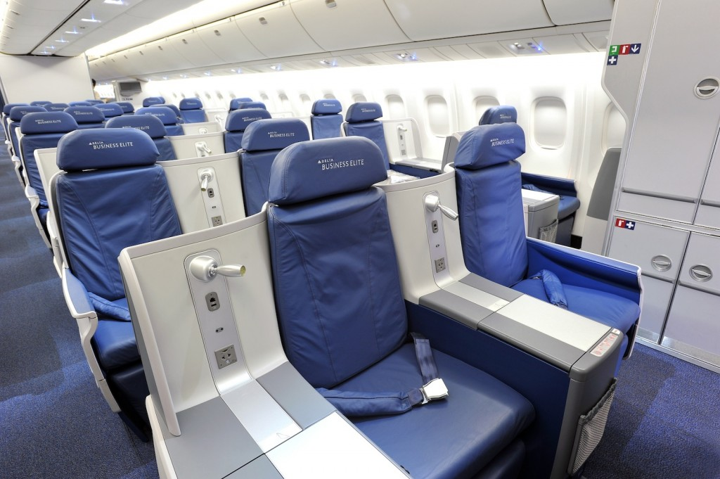 Delta Air Lines BusinessElite class full flat-bed seat on Boeing 767