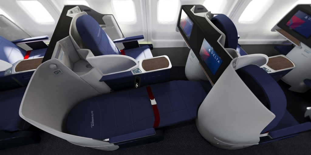 Delta Air Lines transcontinental BusinessElite class full flat-bed seat on Boeing 757