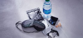 Delta Air Lines international economy class amenity sleep kit and water bottle