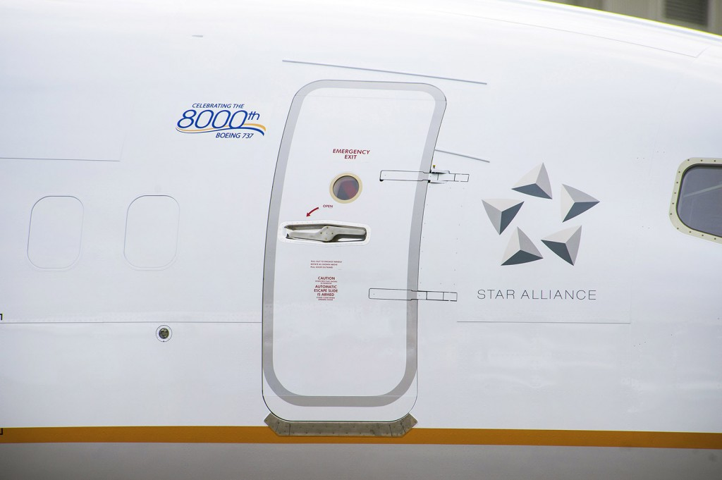 The celebratory logo on the 8000th Boeing 737.