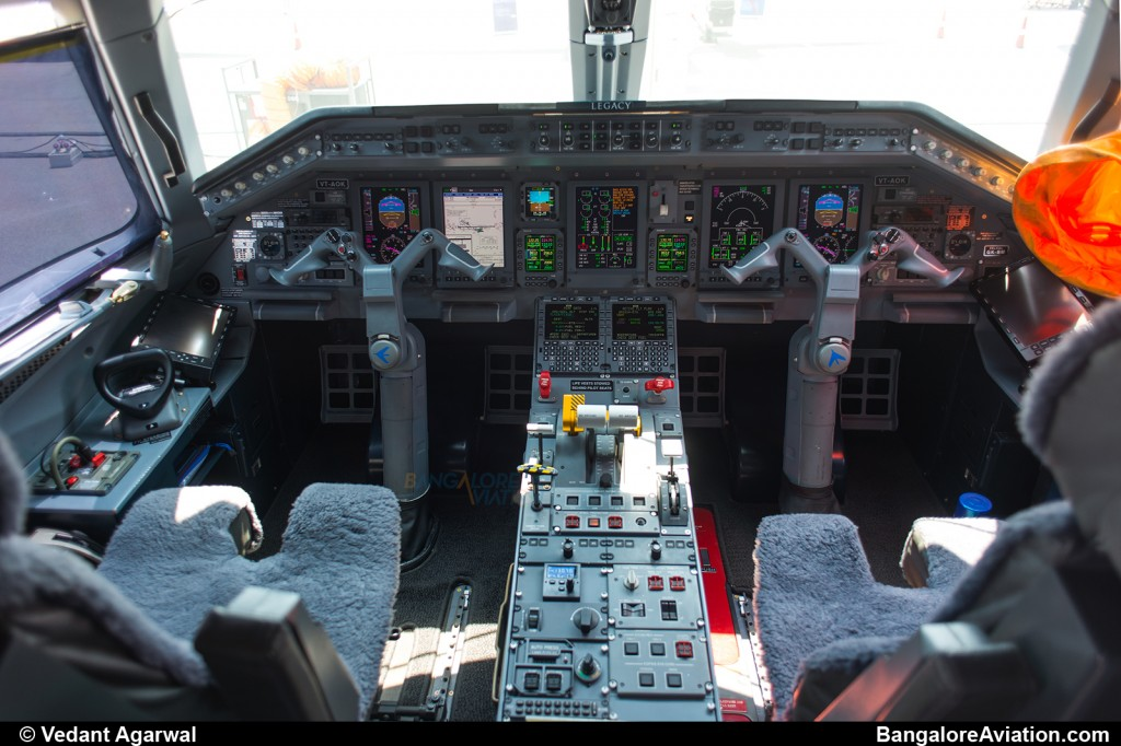Overview of the Legacy 600 cockpit with the Honeywell Primus Elite avionics suite.