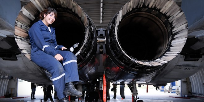 Celebrating international women's' day an Israeli Defence Forces (IDF) technician checks out an F-15 Eagle.