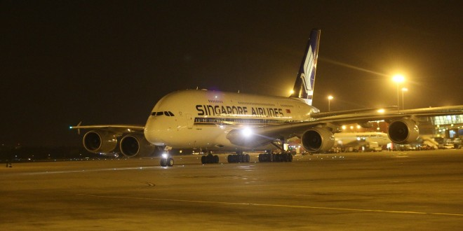 Singapore Airlines A380 9V-SKB arrives at New Delhi IGI airport on first scheduled commercial A380 service to India.