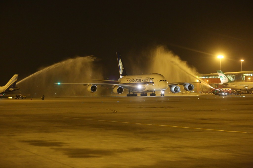 Singapore Airlines A380 9V-SKB being given traditional water cannon salute as it arrives at New Delhi IGI airport staring scheduled commercial A380 service to India.
