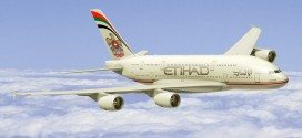 CGI of Etihad Airways' Airbus A380.