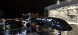 Air New Zealand launch Boeing 787-9 in all-back livery leaves Boeing paint shop.