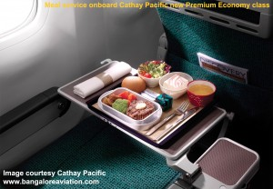 Cathay Pacific new premium economy class meal service. Image courtesy the airline.