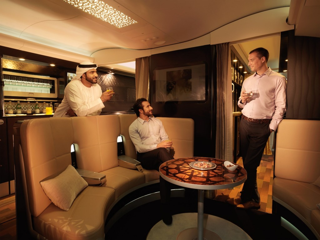 Etihad A380 lobby lounge social area. Picture courtesy Etihad Airways