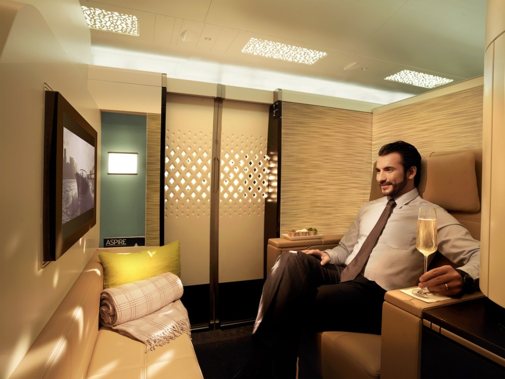 Etihad A380 First Apartment living area. Picture courtesy Etihad Airways
