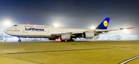 Lufthansa Boeing 747-8i D-ABYA at New Delhi Indira Gandhi airport at night.