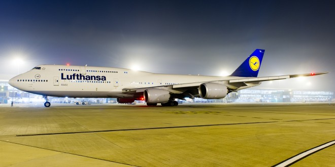 Lufthansa Boeing 747-8i D-ABYA at New Delhi Indira Gandhi airport at night.