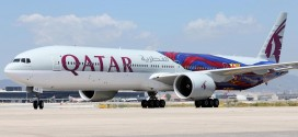 Qatar Airways Boeing 777-300ER A7-BAE in special FC Barcelona livery arrives at El Prat airport Barcelona Spain.