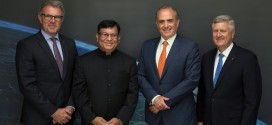 (l-r) Lufthansa CEO Carsten Spohr, Air India CMD Rohit Nandan, Air Canada CEO Calin Rovinscu and Star Alliance CEO Mark Schwab. Lufthansa acted as mentor to assist Air India through the Star alliance joining process. Mr Rovinescu chairs the Star Alliance's Chief Executive Board.