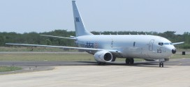 Indian Navy fourth Boeing P-8I tail number IN323 arrives at INS Rajali naval air station Arokkonam. Boeing photo.