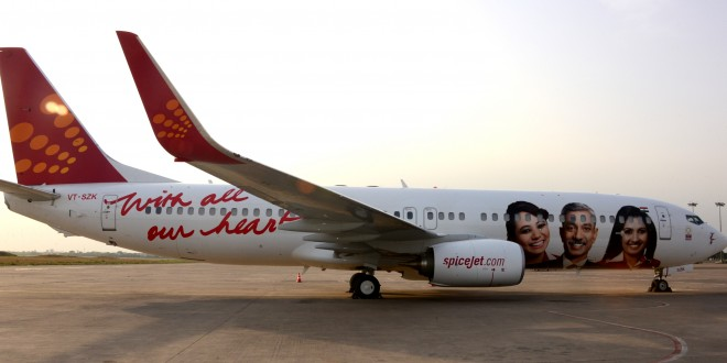 SpiceJet Boeing 737-800WL VT-SZK in special crew livery. With all our heart slogan. Photo courtesy Spicejet.