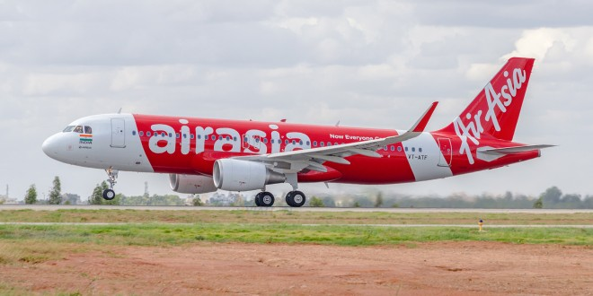 First flight of AirAsia India. Takeoff roll.
