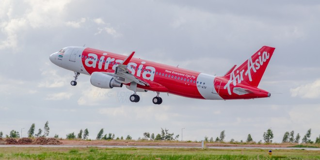 First flight of AirAsia India. Takeoff.