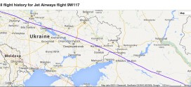 ADS-B flight track radar data from FlightRadar24 showing Jet Airways flight 9W117 London to Mumbai overflying the disputed city of Donetsk in eastern Ukraine on 16-July-2014.