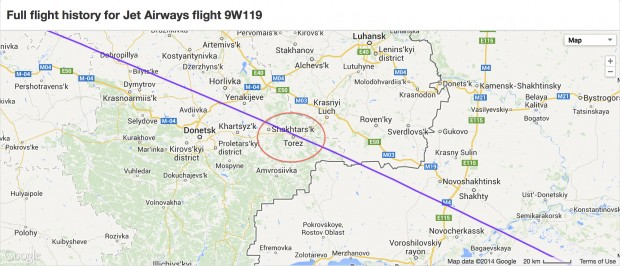 Close-up of flight track ADS-B radar data from FlightRadar24 showing Jet Airways flight 9W119 overflying Shakhtars'k Ukraine, the crash site of MH17, about two hours before the crash.