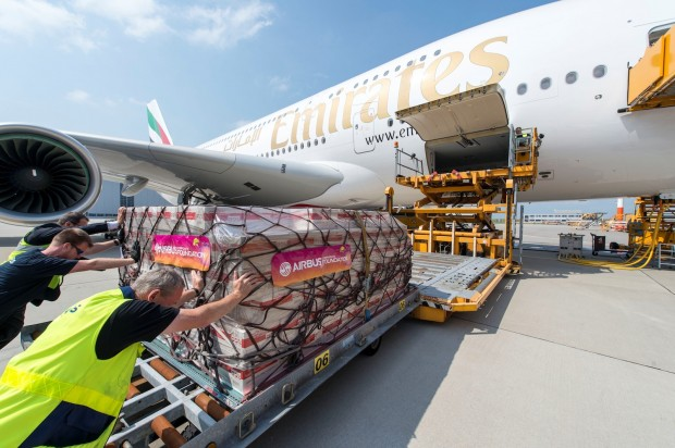 Humanitarian cargo being loaded on the delivery flight of 50th A380 delivered to Emirates. Airbus image.