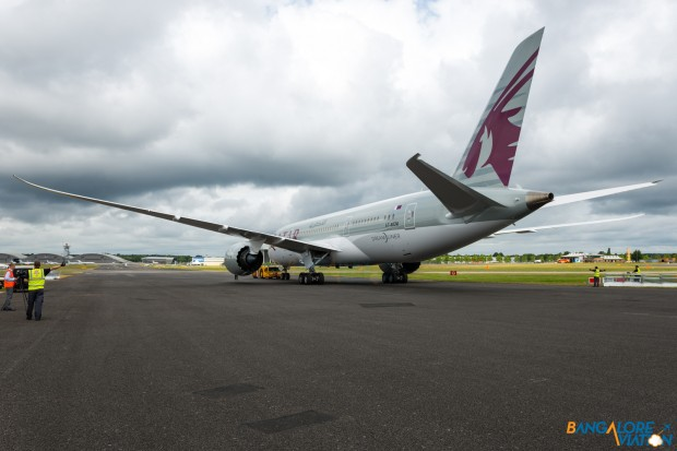 Qatar Airways Boeing 787-8 A7-BCM. Being pushed into it's parking spot for display at the show.