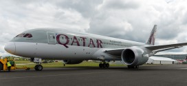 Qatar Airways Boeing 787-8 A7-BCM. Being pushed into it's parking spot for display at the Farnborough airshow 2014.