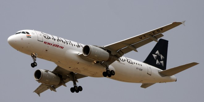 Air India Airbus A320 VT-ESF in Star Alliance livery. Photo copyright Uday Krishna. Used with permission.