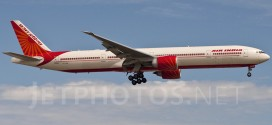 Air India Boeing 777-300ER VT-ALR Meghalaya landing at Chicago O'Hare airport.