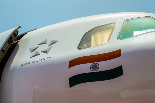 The Star Alliance logo, adorning VT-ESF of Air India.