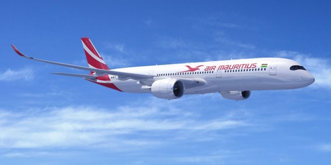 A computer generated image of the Airbus A350-900 in Air Mauritius colours. Airbus Image.